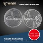 round thin wall four compartment lunch box mould